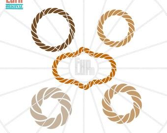 rope monogram frames sailor monogram sea monogram circle monogram frame manly svg png dxf eps for silhouette cameo cricut air etc