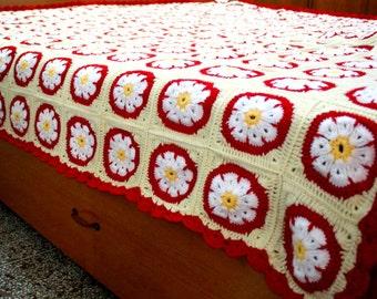 216cm x 228cm Hand Crochted Bedspread, Granny Square King Size, Afghan, Blanket