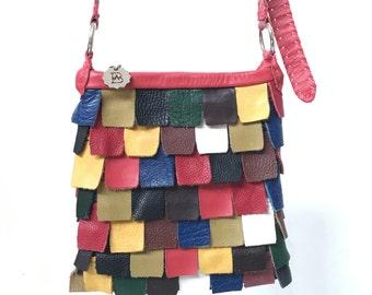 Multi Colour Small Leather Panel Shoulder Bag