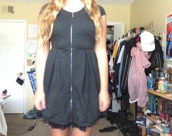 Retro Zip Up Black Dress Size 6