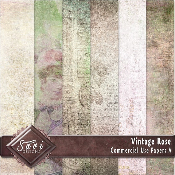 CU Commercial Use Background Papers set of 6 for Digital Scrapbooking or Craft projects Vintage Rose Set A, Designer Stock Papers