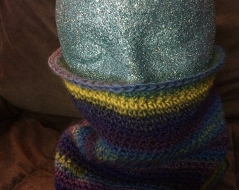Hand Crochet Multi Colored 100% Wool Cowl