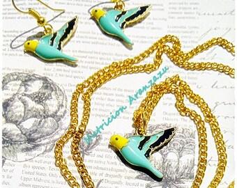 Parakeet Enamel Jewelry Set