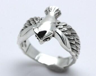 Owl ring,Hogwarts Owl ring,silver ring 925.