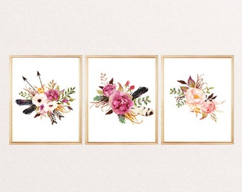 Print watercolor flowers arrows feathers arrows floral wall art print watercolor floral poster nursery decor home office decor SET OF 3