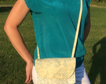 Crossbody bag (purse) with two hidden pockets and two inside pockets, aqua blue and yellow