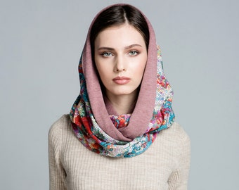 Scarf. Snood. Infinite scarf.Pink scarf.