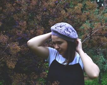 lavanda crochet beret, knitted beret, handmade beret, french style beret, lace beret, stylish beret, women hat, crochet hat, grey beret