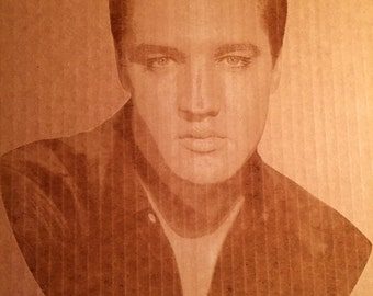 Laser engrave Elvis photo. 12 x 15