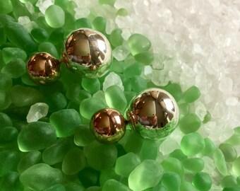 Double ball ear jackets/ style/tribal style/Rose Gold dior/tribal/double ball studs/rose gold studs/ rose gold/earrings/sterling silver/Dior