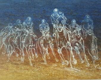 Horse Racing mixed media, acrylic and oil original art.