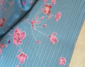 1.1m x 1.6m Floral 1970s Self Stripe Polyester, Slight Stretch, Dressmaking, Sewing, Crafts, 70s Dress Fabric