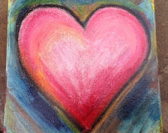 acrylic red heart on canvas