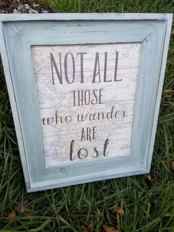 Not All Those who Wander are Lost wall hanging with decorative map background