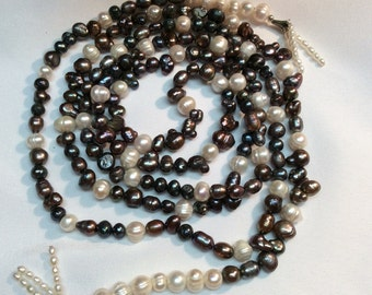 Long fresh water pearl necklace or tie-belt