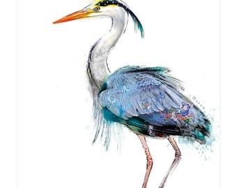 Handmade Heron Greetings Card