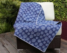 Handmade Cotton Baby Blanket Blue Kantha Baby Dohar Floral Print Baby Bedding