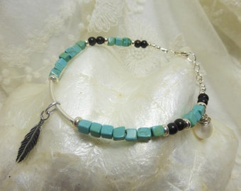 Sterling Silver Beaded Gemstone Bracelet With Turquoise Magnesite & Pearl, Feather Charm