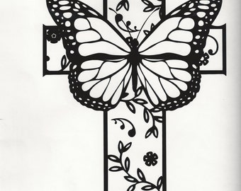 Butterfly and cross decal