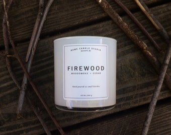 Firewood Signature Scented Soy Wax Blend Candle with Wood Wick
