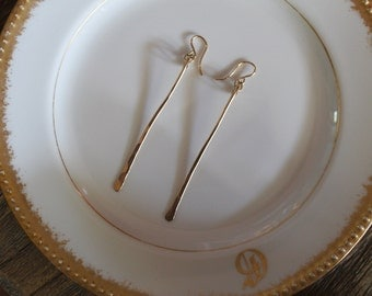 14k Gold Bar Earrings