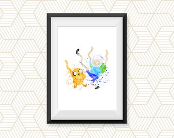 Adventure Time, Jake and Finn, Watercolor Art Print Poster, Home Decor, Jake, Finn, Watercolor Painting, Wall decor, Nursery Decor