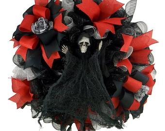 Halloween Reaper Deco Mesh Wreath Holiday Wreath Front Door Wreath  Halloween Decor