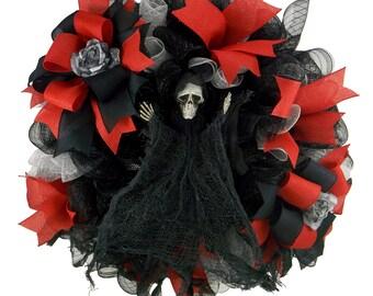 Reaper Halloween Wreath, Deco Mesh Wreath, Holiday Wreath, Front Door Wreath,  Halloween Decor