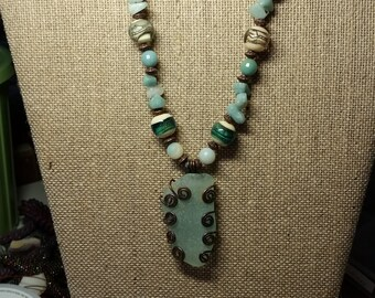 Aqua Sea Glass Necklace and Earrings