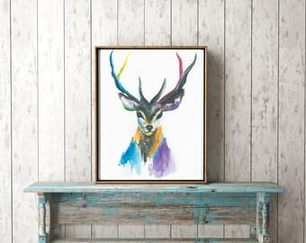 Stag Watercolour Print