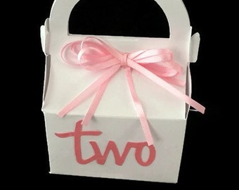 Second Birthday Party Favor Boxes for Candy- Pink & White, 2nd Birthday