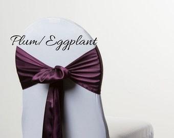 PLUM / Eggplant Satin Chair Sash