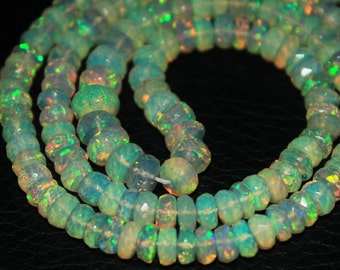 Welo Ethiopian Opal Faceted Cut Rondelle Loose Beads Strand - 17 inches - 4 MM 6.5 MM - Jewelry Making