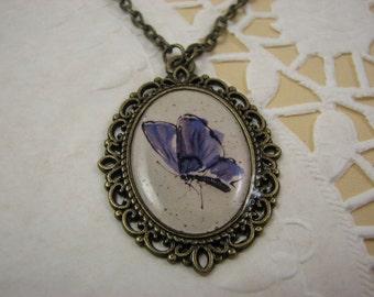 Blue Butterfly pendant – Butterfly pendant - Butterfly necklace –Vintage style pendant – Romantic gift for her - Retro pendant (P004)