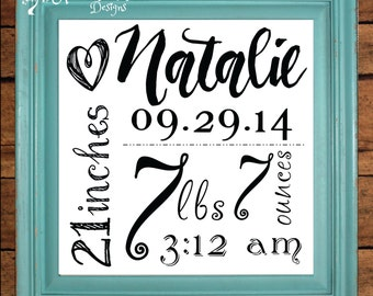 Personalized Birth Stats Sign - Girl - Custom Sign