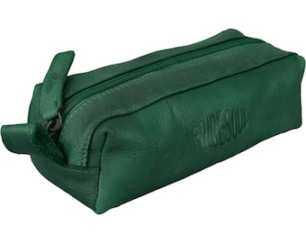 Case pins Pencase Schlamper roll retro style leather Green