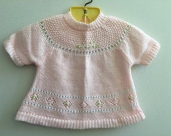 Vintage Pink Knit Baby Girl Top