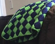 Entrelac Square Crochet Blanket