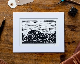 Mounted Mountain Troll Print - Original Lino Art Print