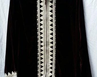 Stunning Bohemian Moroccan Tunic Jacket Regal Burgundy  M L