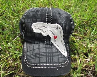 womens black FLORIDA baeball hat