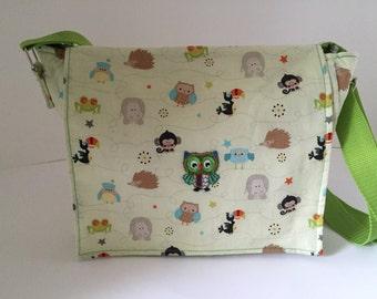 Nursery bag shoulder bag OWL motifs green shoulder bag