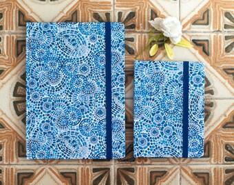 Blue Mediterranean Journal, Hardcover handmade Notebook with elastic band