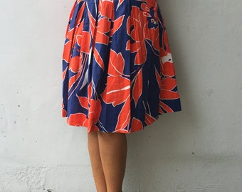 Vintage red/blue cotton skirt EN 38 UK 6