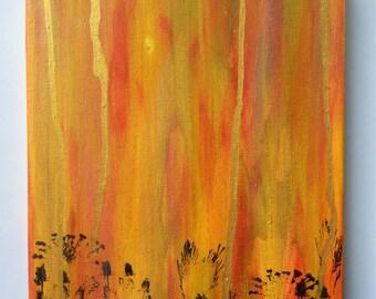 Flowers and Moving Sky (Original Canvas)