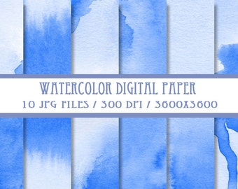 Blue Watercolor Digital Paper ( Instant Download )