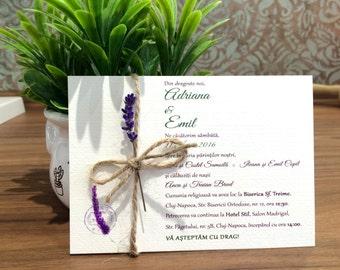 Rustic Lavender Wedding Invitation template/Printable invitation / Lavender Invitations / Lace invitation / Handmade Invitation