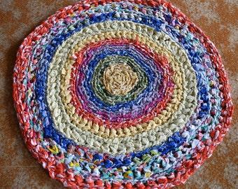 Handmade Crochet Multi-coloured Recycled Rag Rug