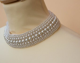 Faux Pearl Collar, Choker, Necklace, Vintage