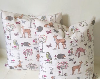 Woodland print cushion